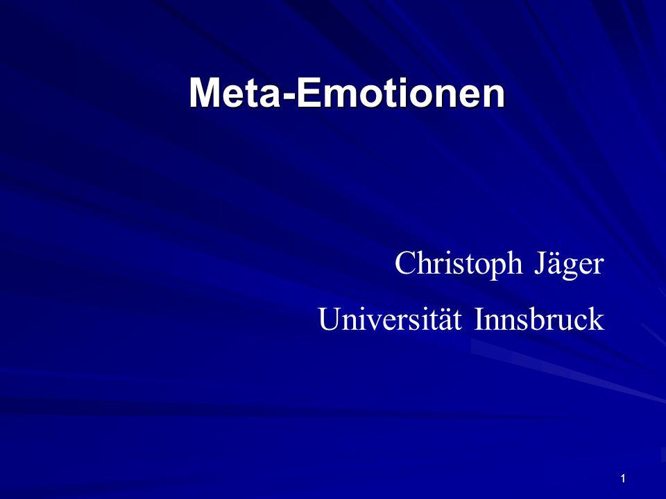 1 Meta-EmotionenMeta-Emotionen Christoph Jäger Universität Innsbruck