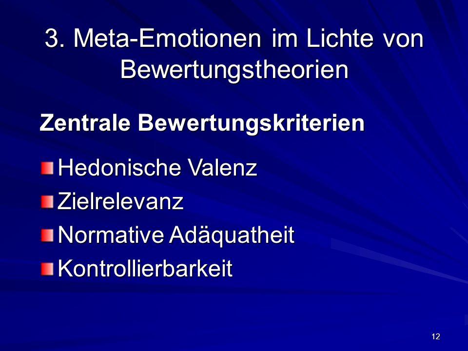 12 3. Meta-Emotionen im Lichte von Bewertungstheorien Zentrale Bewertungskriterien Hedonische Valenz Zielrelevanz Normative Adäquatheit Kontrollierbar