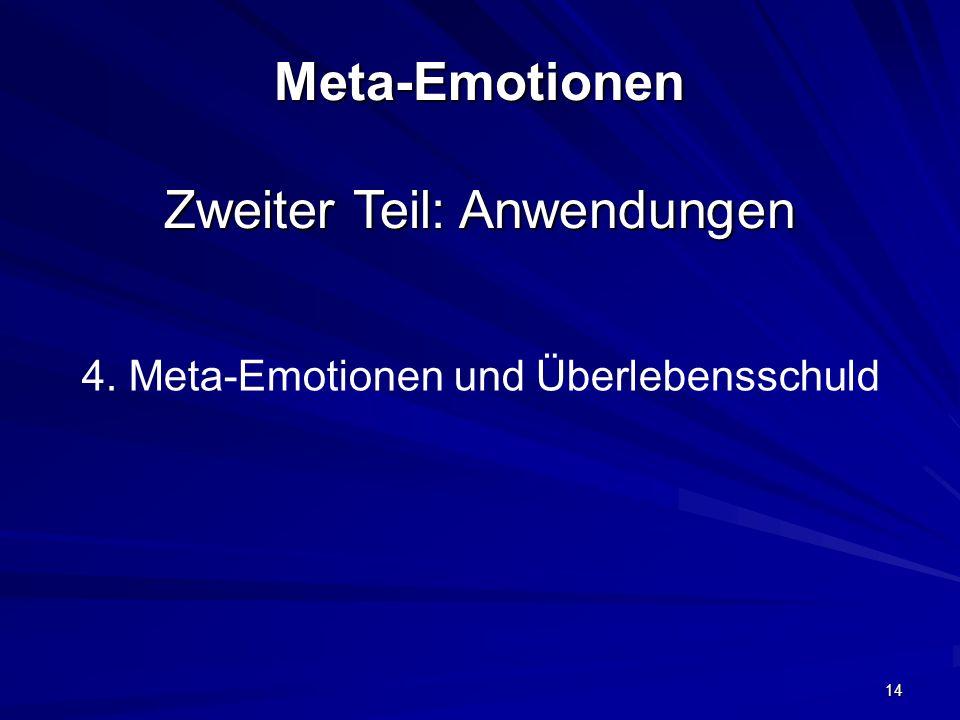 14 Meta-Emotionen Zweiter Teil: Anwendungen 4. Meta-Emotionen und Überlebensschuld