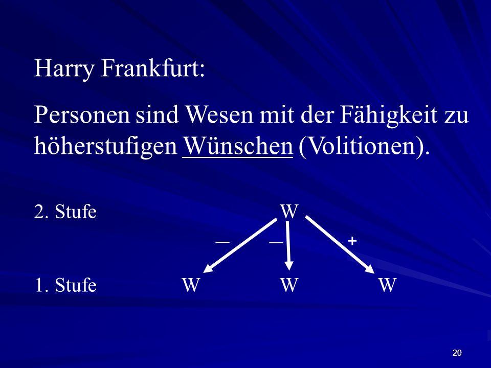 20 Harry Frankfurt: Personen sind Wesen mit der Fähigkeit zu höherstufigen Wünschen (Volitionen). 2. StufeW 1. StufeWWW __ +