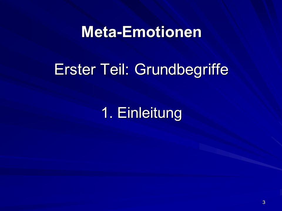 3 Meta-Emotionen Erster Teil: Grundbegriffe 1. Einleitung