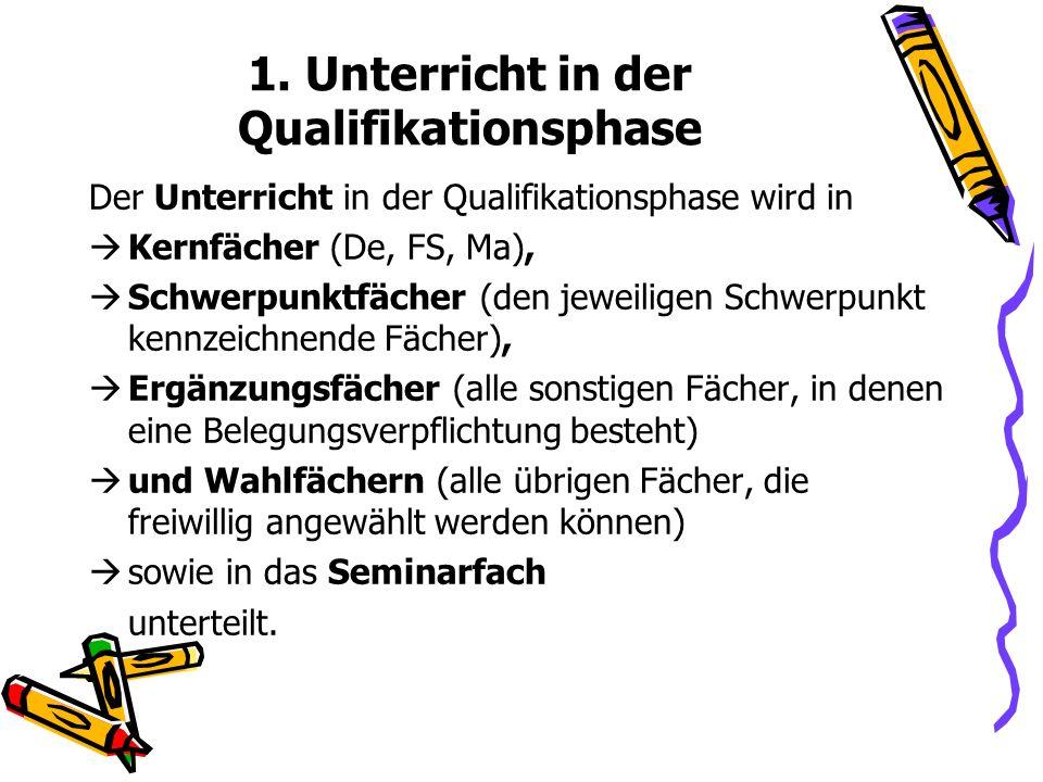 1. Unterricht in der Qualifikationsphase Der Unterricht in der Qualifikationsphase wird in Kernfächer (De, FS, Ma), Schwerpunktfächer (den jeweiligen
