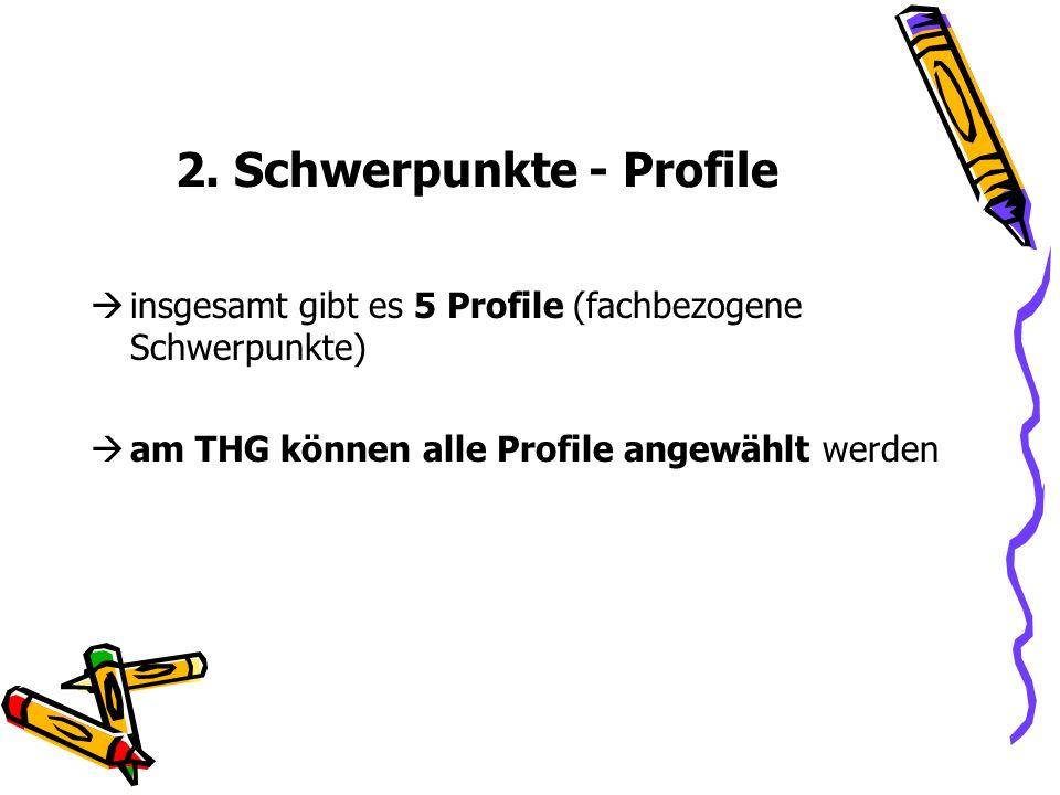 2. Schwerpunkte - Profile insgesamt gibt es 5 Profile (fachbezogene Schwerpunkte) am THG können alle Profile angewählt werden