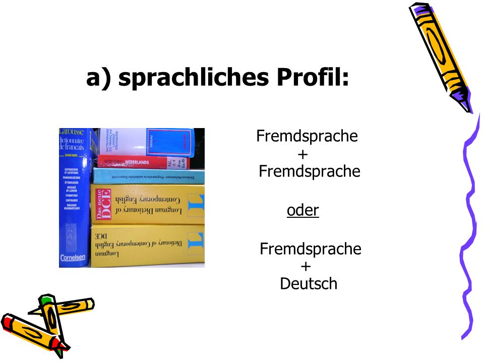 typische Wahl in diesem Profil: P 1 GE 4 (WoStd.) P 2 De 4 P 3 PW 4 P 4 Ch 4 P 5 Eng 4 Ma 4 Lt 4 WN 2 Ku 2* Sf 2 Sp 2