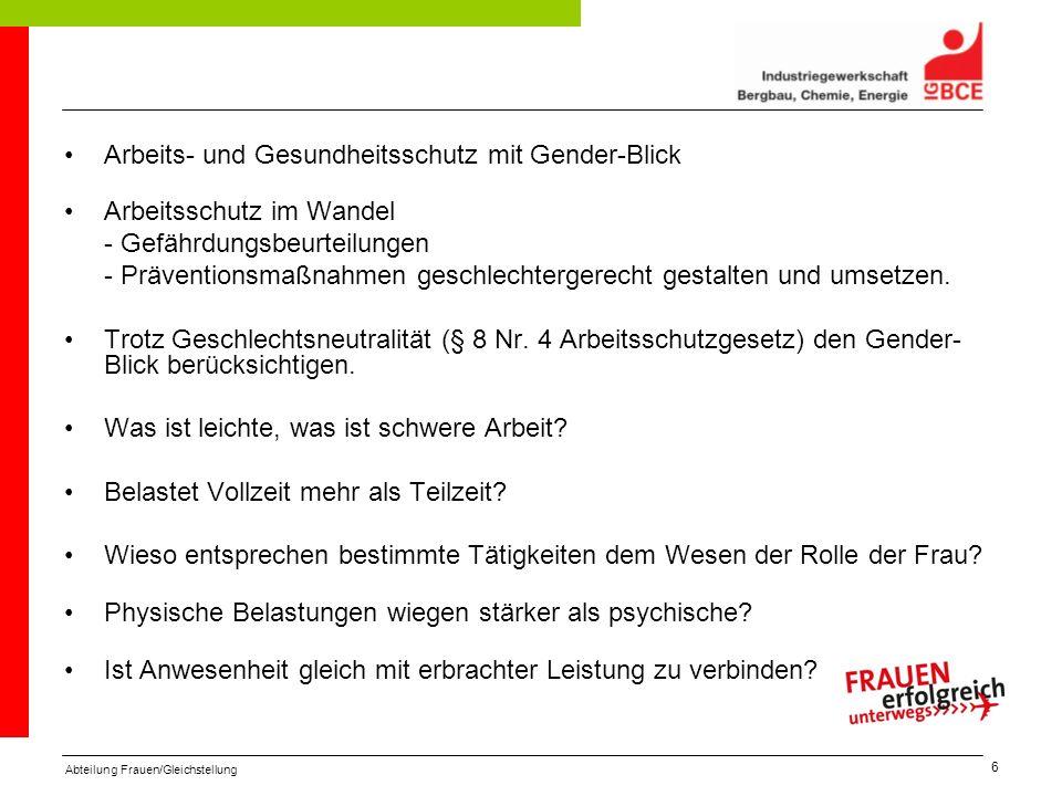 Abteilung Frauen/Gleichstellung 6 Arbeits- und Gesundheitsschutz mit Gender-Blick Arbeitsschutz im Wandel - Gefährdungsbeurteilungen - Präventionsmaßn
