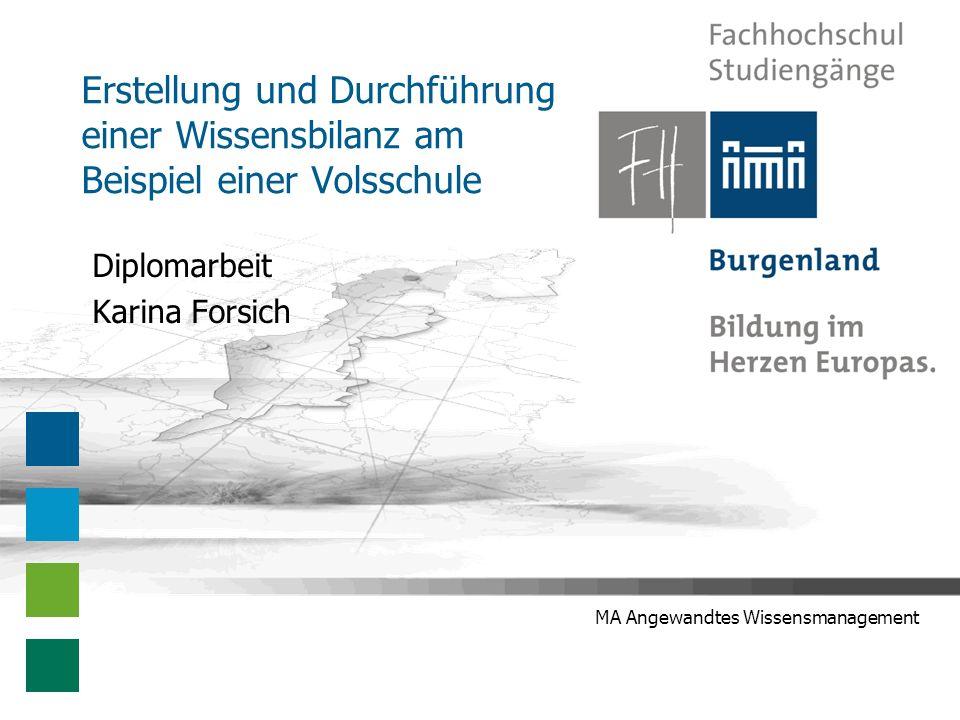 Karina Forsich - Diplomarbeitspräsentation 22 Offene und neue Fragen Neue Fragen Wissensbilanz als Bedrohung.