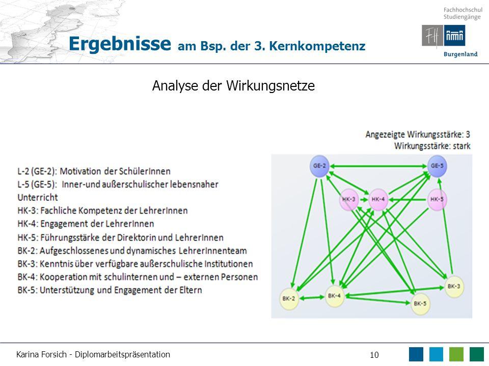 Karina Forsich - Diplomarbeitspräsentation 10 Ergebnisse am Bsp. der 3. Kernkompetenz Analyse der Wirkungsnetze