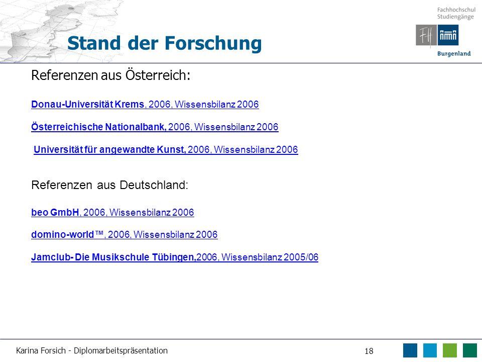 Karina Forsich - Diplomarbeitspräsentation 18 Stand der Forschung Referenzen aus Österreich: Donau-Universität Krems, 2006, Wissensbilanz 2006 Österre