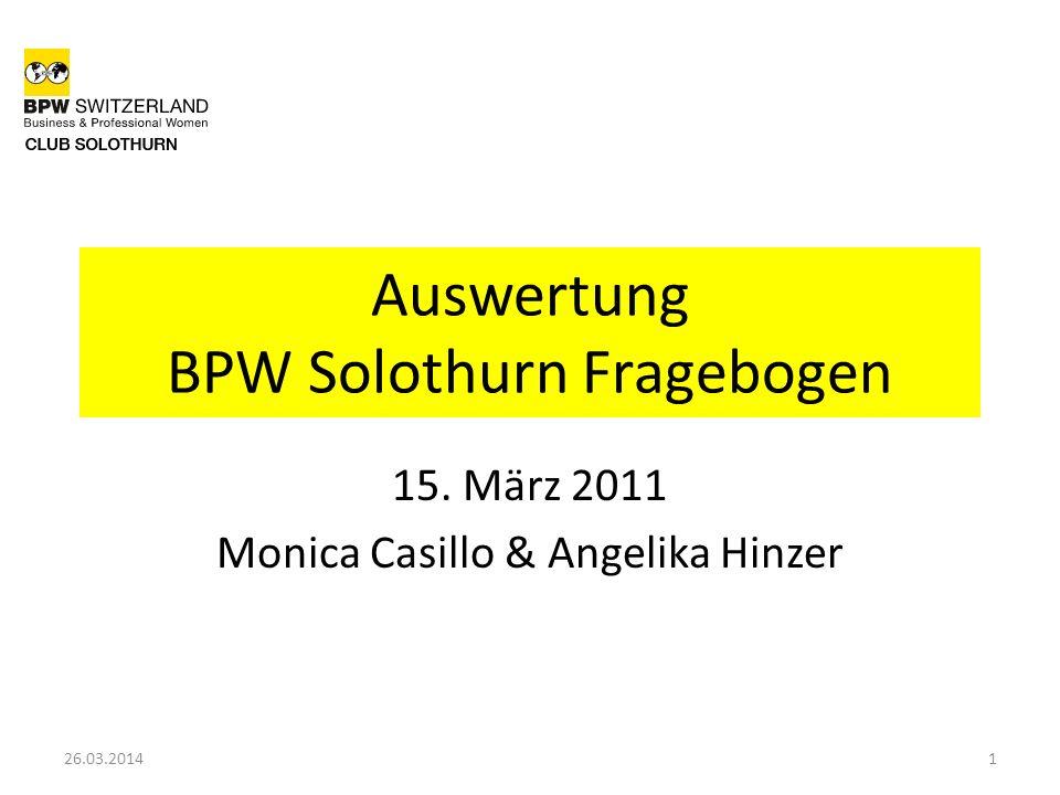 Auswertung BPW Solothurn Fragebogen 15. März 2011 Monica Casillo & Angelika Hinzer 126.03.2014