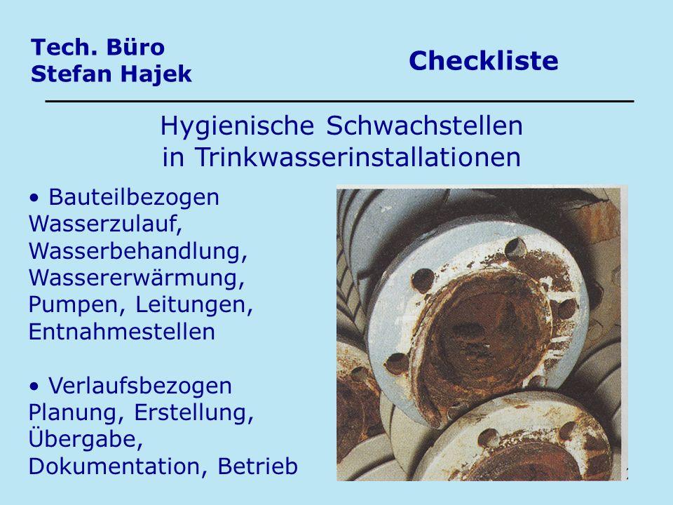 Tech. Büro Stefan Hajek Checkliste Hygienische Schwachstellen in Trinkwasserinstallationen Bauteilbezogen Wasserzulauf, Wasserbehandlung, Wassererwärm
