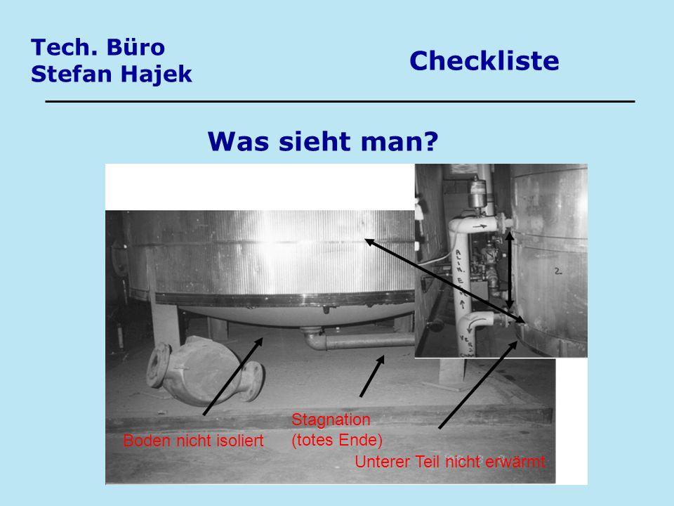 Tech. Büro Stefan Hajek Checkliste Was sieht man? Boden nicht isoliert Stagnation (totes Ende) Unterer Teil nicht erwärmt