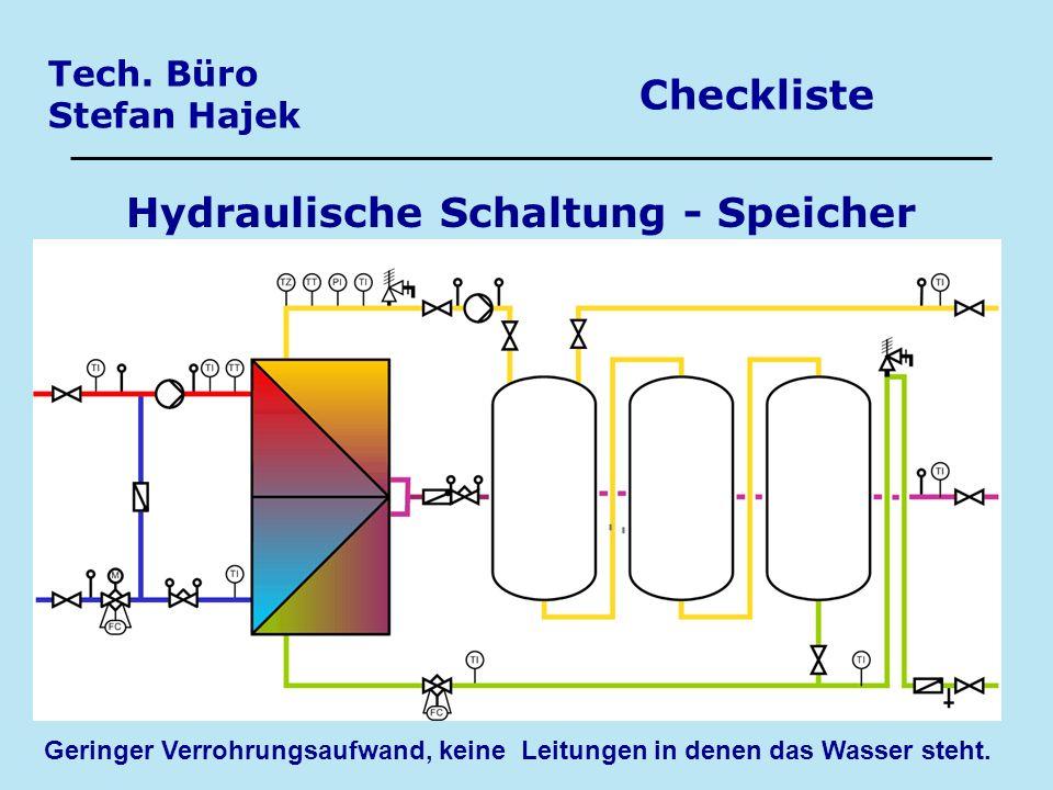 Tech. Büro Stefan Hajek Checkliste Hydraulische Schaltung - Speicher Geringer Verrohrungsaufwand, keine Leitungen in denen das Wasser steht.