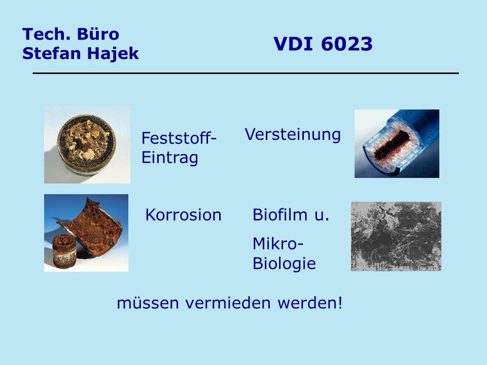 Tech. Büro Stefan Hajek VDI 6023 Feststoff- Eintrag Korrosion Versteinung Biofilm u. Mikro- Biologie müssen vermieden werden!