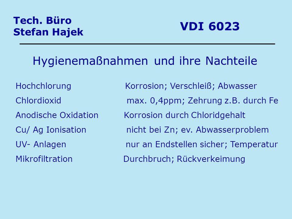 Tech. Büro Stefan Hajek VDI 6023 Hygienemaßnahmen und ihre Nachteile Hochchlorung Korrosion; Verschleiß; Abwasser Chlordioxid max. 0,4ppm; Zehrung z.B