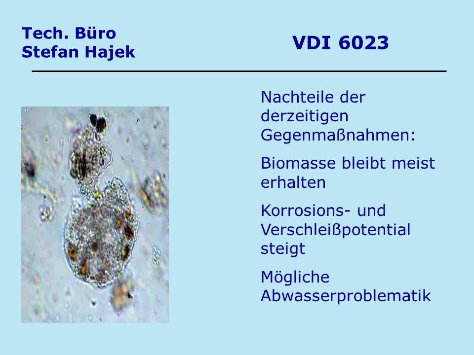 Tech. Büro Stefan Hajek VDI 6023 Nachteile der derzeitigen Gegenmaßnahmen: Biomasse bleibt meist erhalten Korrosions- und Verschleißpotential steigt M