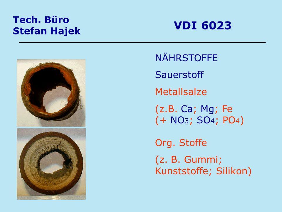 Tech. Büro Stefan Hajek VDI 6023 NÄHRSTOFFE Sauerstoff Metallsalze (z.B. Ca; Mg; Fe (+ NO 3 ; SO 4 ; PO 4 ) Org. Stoffe (z. B. Gummi; Kunststoffe; Sil