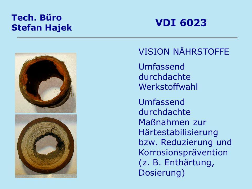 Tech. Büro Stefan Hajek VDI 6023 VISION NÄHRSTOFFE Umfassend durchdachte Werkstoffwahl Umfassend durchdachte Maßnahmen zur Härtestabilisierung bzw. Re
