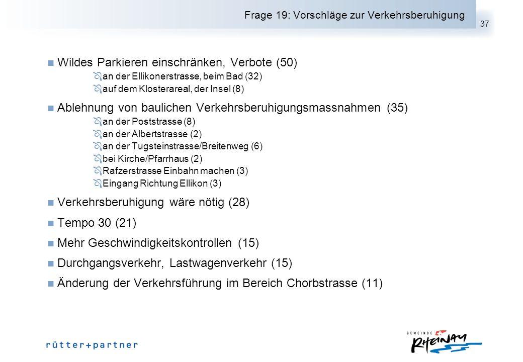 37 Frage 19: Vorschläge zur Verkehrsberuhigung Wildes Parkieren einschränken, Verbote (50) an der Ellikonerstrasse, beim Bad (32) auf dem Klosterareal