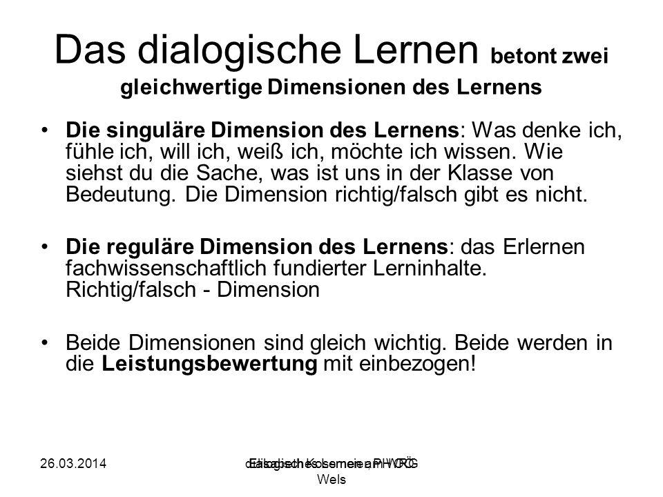 Elisabeth Kossmeier, PH OÖ Das dialogische Lernen betont zwei gleichwertige Dimensionen des Lernens Die singuläre Dimension des Lernens: Was denke ich