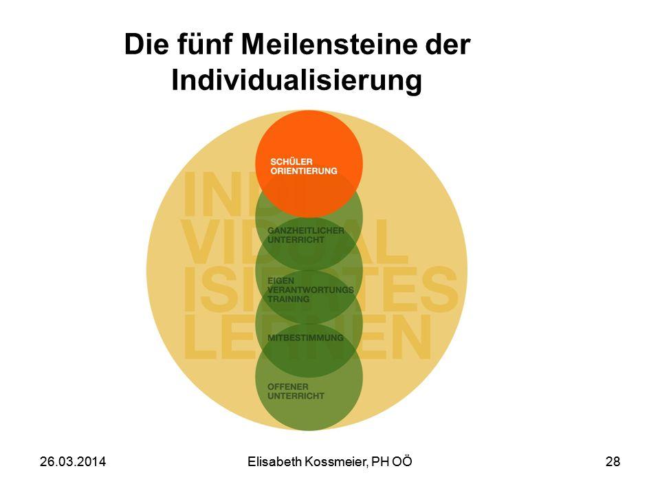 Elisabeth Kossmeier, PH OÖ2826.03.2014Elisabeth Kossmeier, PH OÖ28 Die fünf Meilensteine der Individualisierung 26.03.2014