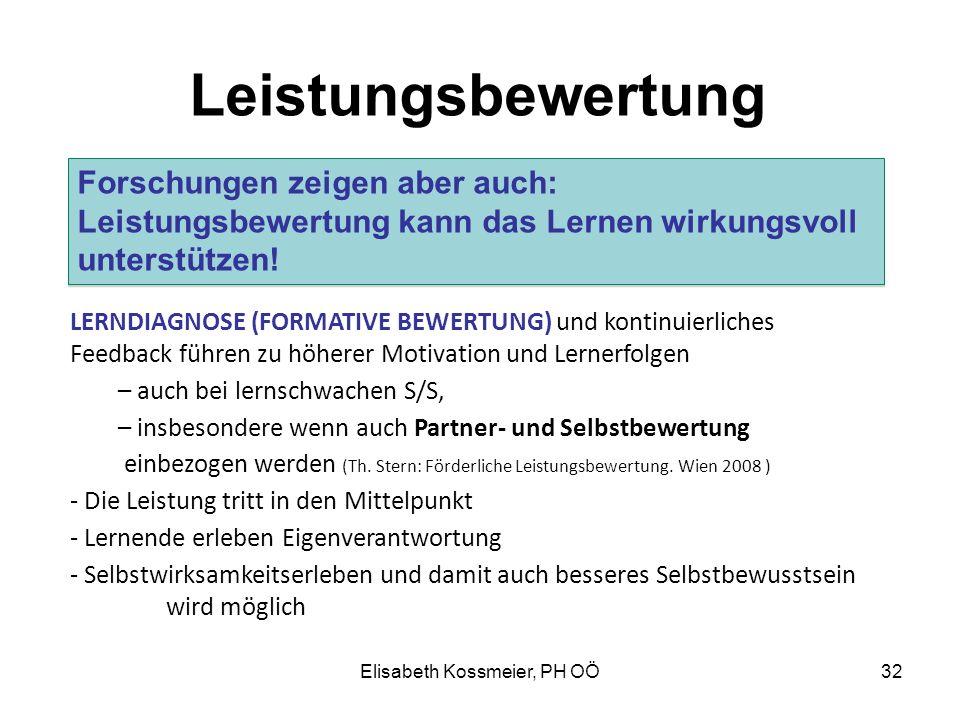 Elisabeth Kossmeier, PH OÖ Leistungsbewertung LERNDIAGNOSE (FORMATIVE BEWERTUNG) und kontinuierliches Feedback führen zu höherer Motivation und Lerner