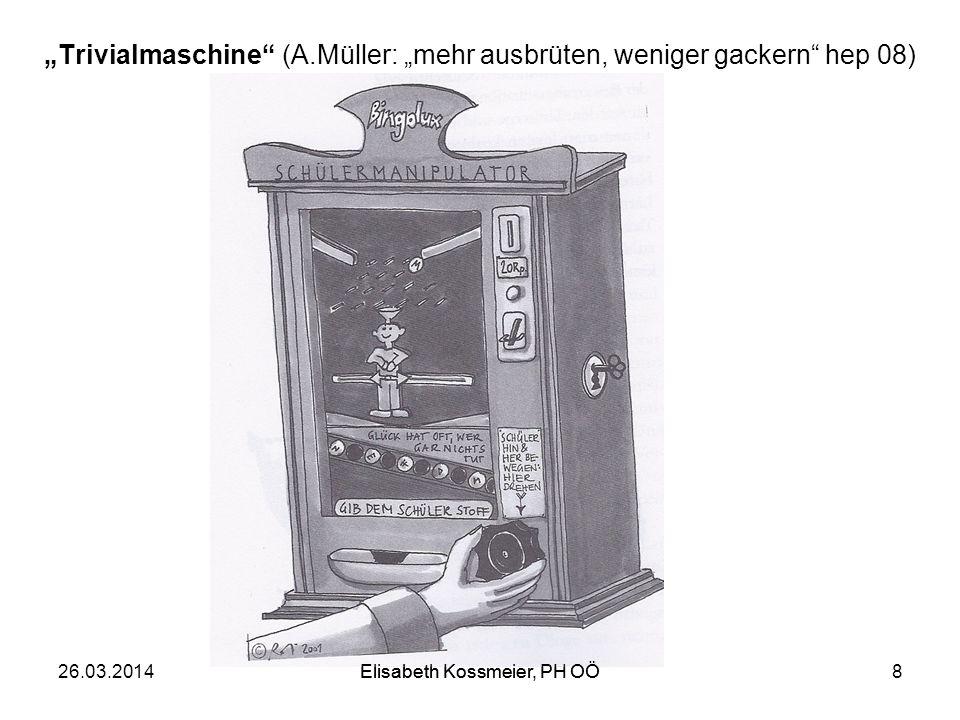 Elisabeth Kossmeier, PH OÖ Trivialmaschine (A.Müller: mehr ausbrüten, weniger gackern hep 08) 26.03.2014Elisabeth Kossmeier, PH OÖ8