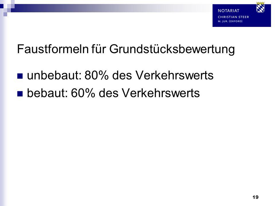 19 Faustformeln für Grundstücksbewertung unbebaut: 80% des Verkehrswerts bebaut: 60% des Verkehrswerts