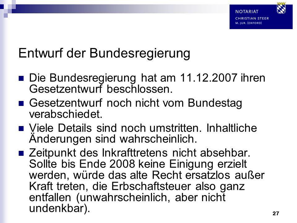 27 Entwurf der Bundesregierung Die Bundesregierung hat am 11.12.2007 ihren Gesetzentwurf beschlossen. Gesetzentwurf noch nicht vom Bundestag verabschi