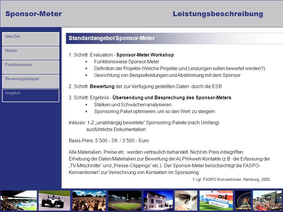 Sponsor-MeterLeistungsbeschreibung Nutzen Funktionsweise Bewertungsbeispiel Idee/Ziel Angebot Standardangebot Sponsor-Meter 1. Schritt: Evaluation - S
