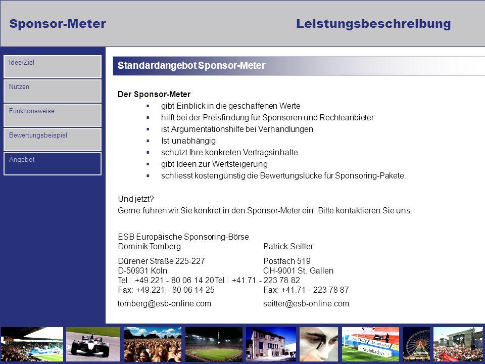 Sponsor-MeterLeistungsbeschreibung Nutzen Funktionsweise Bewertungsbeispiel Idee/Ziel Angebot Standardangebot Sponsor-Meter Der Sponsor-Meter gibt Ein