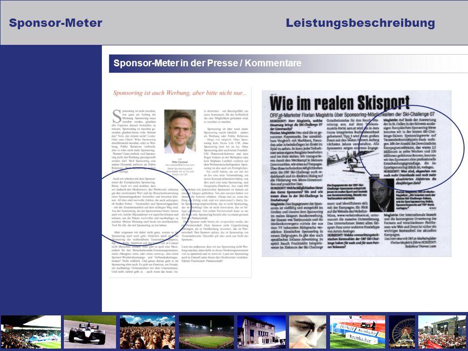 Sponsor-MeterLeistungsbeschreibung Sponsor-Meter in der Presse / Kommentare