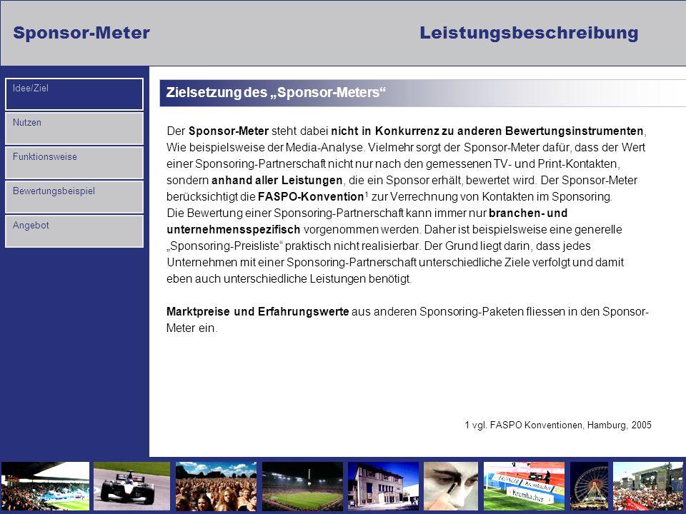 Sponsor-Meter Leistungsbeschreibung Nutzen Funktionsweise Bewertungsbeispiel Idee/Ziel Angebot Zielsetzung des Sponsor-Meters Der Sponsor-Meter steht