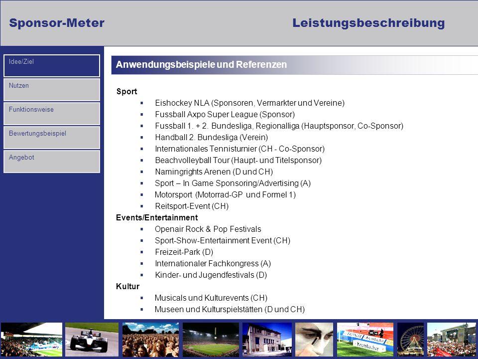 Sponsor-Meter Leistungsbeschreibung Nutzen Funktionsweise Bewertungsbeispiel Idee/Ziel Angebot Anwendungsbeispiele und Referenzen Sport Eishockey NLA