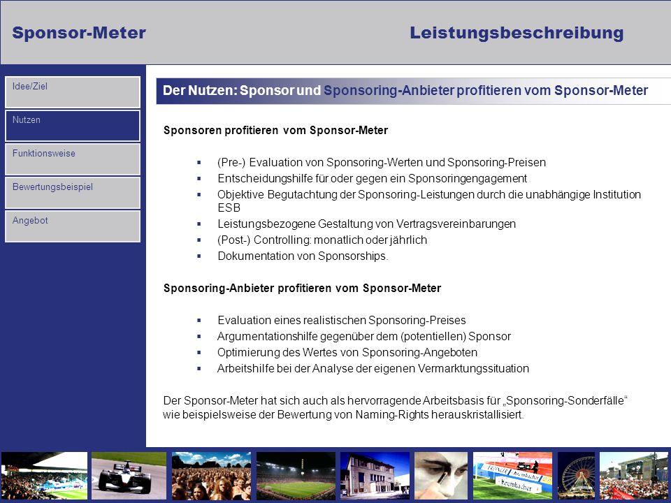 Sponsor-MeterLeistungsbeschreibung Nutzen Funktionsweise Bewertungsbeispiel Idee/Ziel Angebot Der Nutzen: Sponsor und Sponsoring-Anbieter profitieren