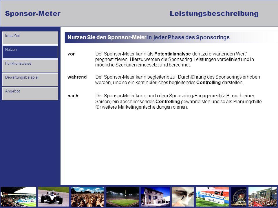 Sponsor-MeterLeistungsbeschreibung Nutzen Funktionsweise Bewertungsbeispiel Idee/Ziel Angebot Nutzen Sie den Sponsor-Meter in jeder Phase des Sponsori