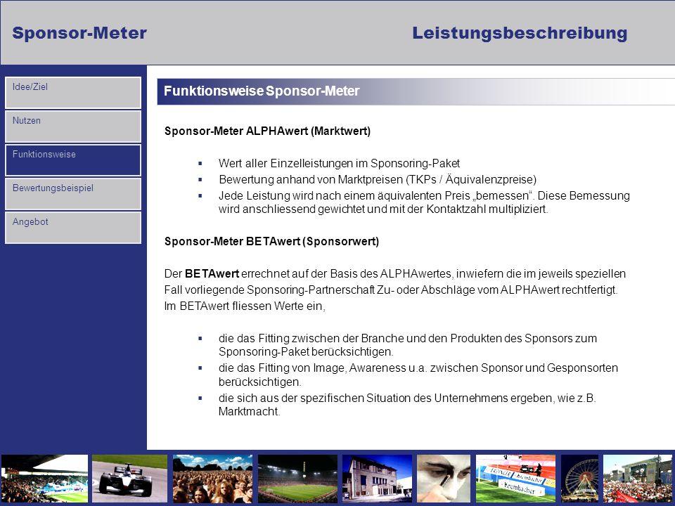 Sponsor-MeterLeistungsbeschreibung Nutzen Funktionsweise Bewertungsbeispiel Idee/Ziel Angebot Funktionsweise Sponsor-Meter Sponsor-Meter ALPHAwert (Ma