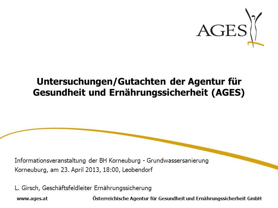 Österreichische Agentur für Gesundheit und Ernährungssicherheit GmbHwww.ages.at Untersuchungen/Gutachten der Agentur für Gesundheit und Ernährungssicherheit (AGES) Informationsveranstaltung der BH Korneuburg - Grundwassersanierung Korneuburg, am 23.