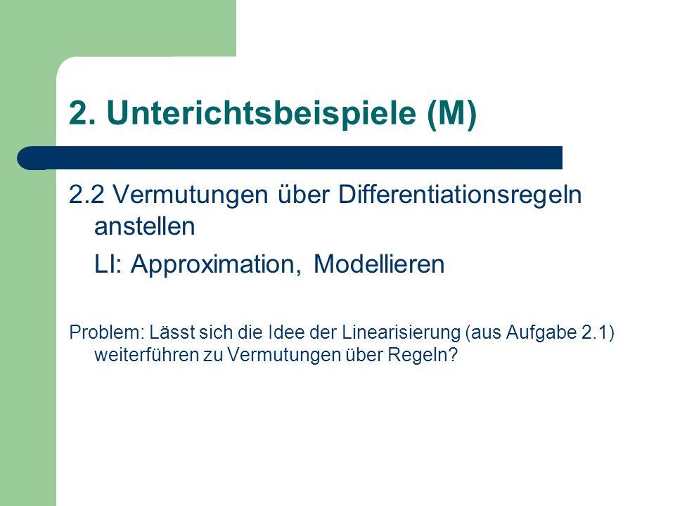 2.2 Vermutungen über Differentiationsregeln anstellen LI: Approximation, Modellieren Problem: Lässt sich die Idee der Linearisierung (aus Aufgabe 2.1) weiterführen zu Vermutungen über Regeln.