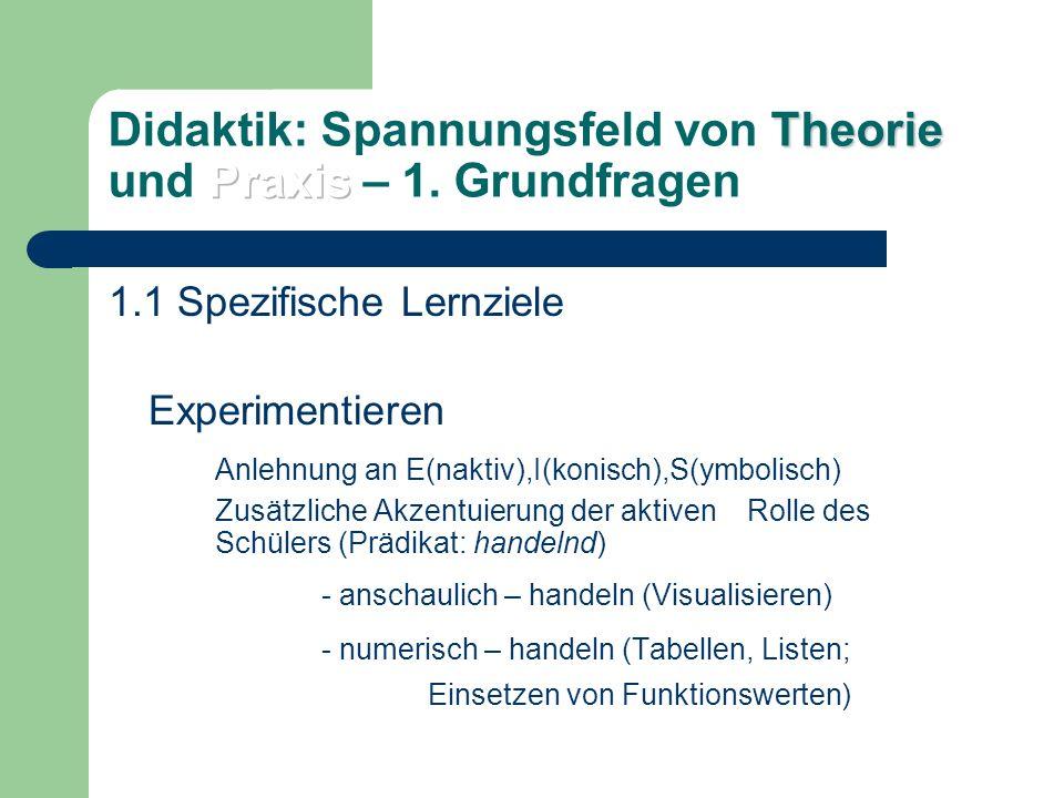 1.Grundfragen 1.1 Spezifische Lernziele Argumentieren und Begründen symbolisch – handeln (z.