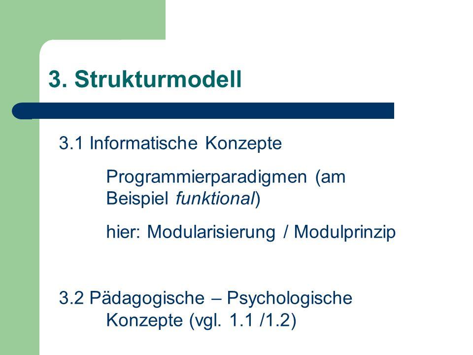 3. Strukturmodell 3.1 Informatische Konzepte Programmierparadigmen (am Beispiel funktional) hier: Modularisierung / Modulprinzip 3.2 Pädagogische – Ps