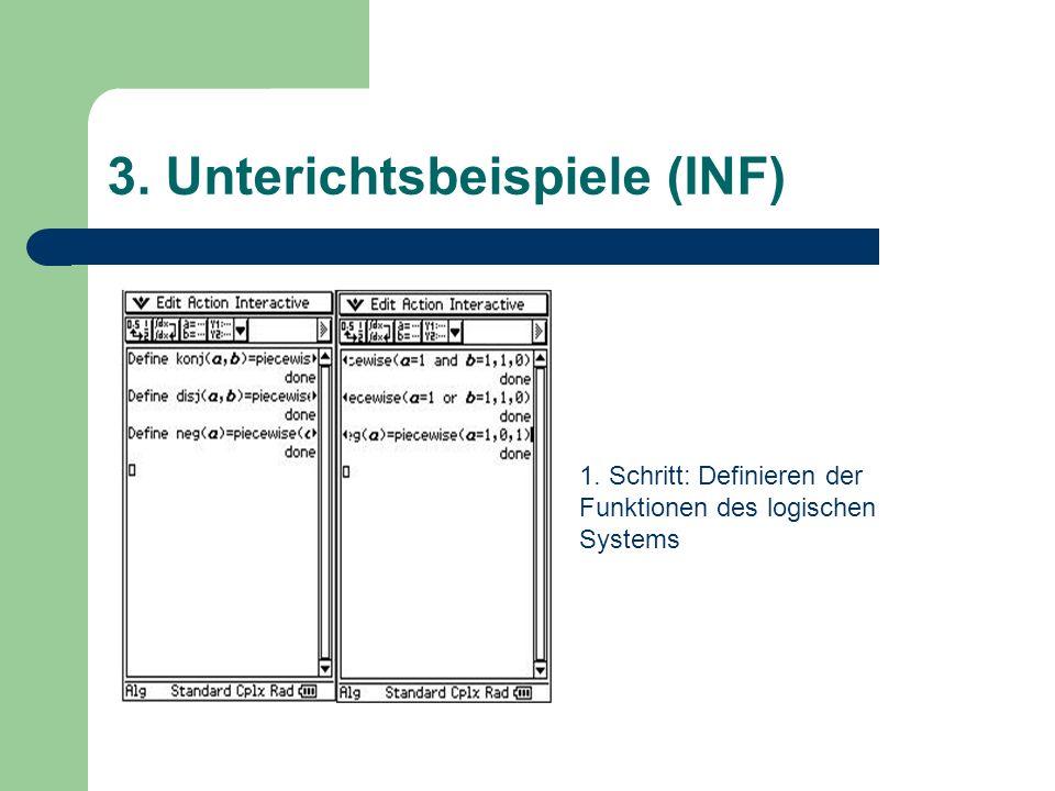3. Unterichtsbeispiele (INF) 1. Schritt: Definieren der Funktionen des logischen Systems