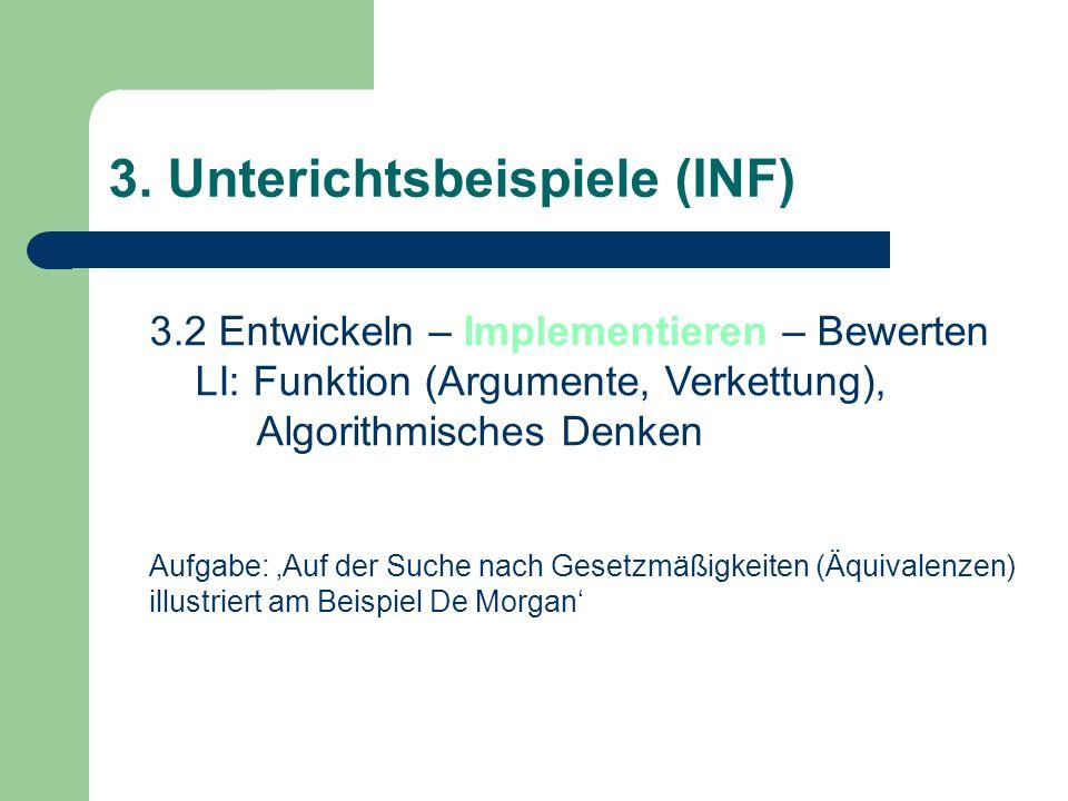 3.2 Entwickeln – Implementieren – Bewerten LI: Funktion (Argumente, Verkettung), Algorithmisches Denken Aufgabe: Auf der Suche nach Gesetzmäßigkeiten (Äquivalenzen) illustriert am Beispiel De Morgan 3.