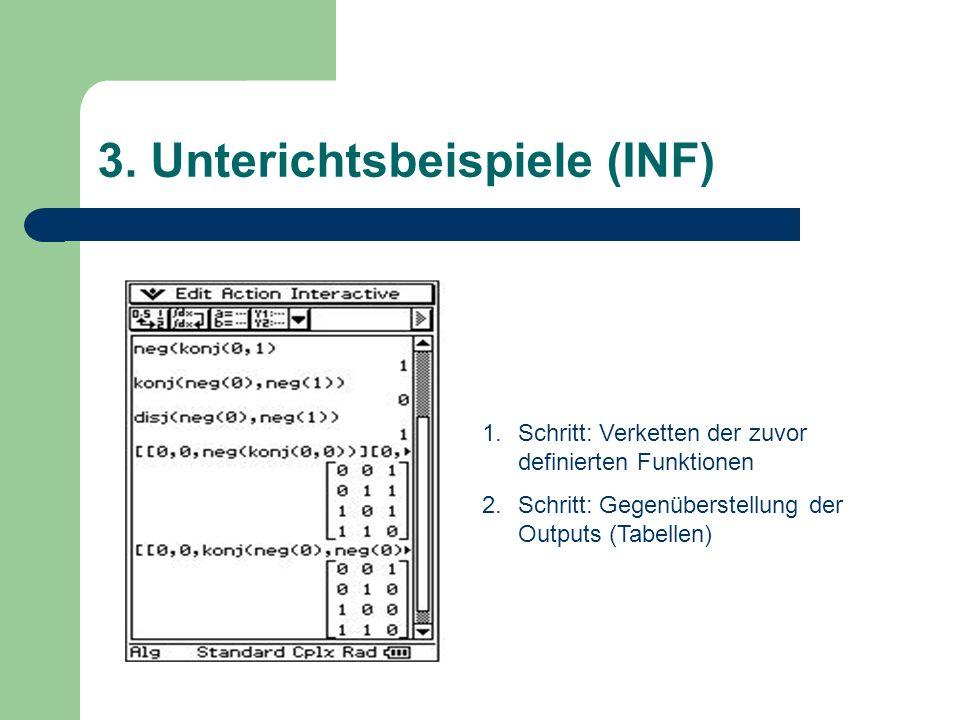 1.Schritt: Verketten der zuvor definierten Funktionen 2.Schritt: Gegenüberstellung der Outputs (Tabellen)
