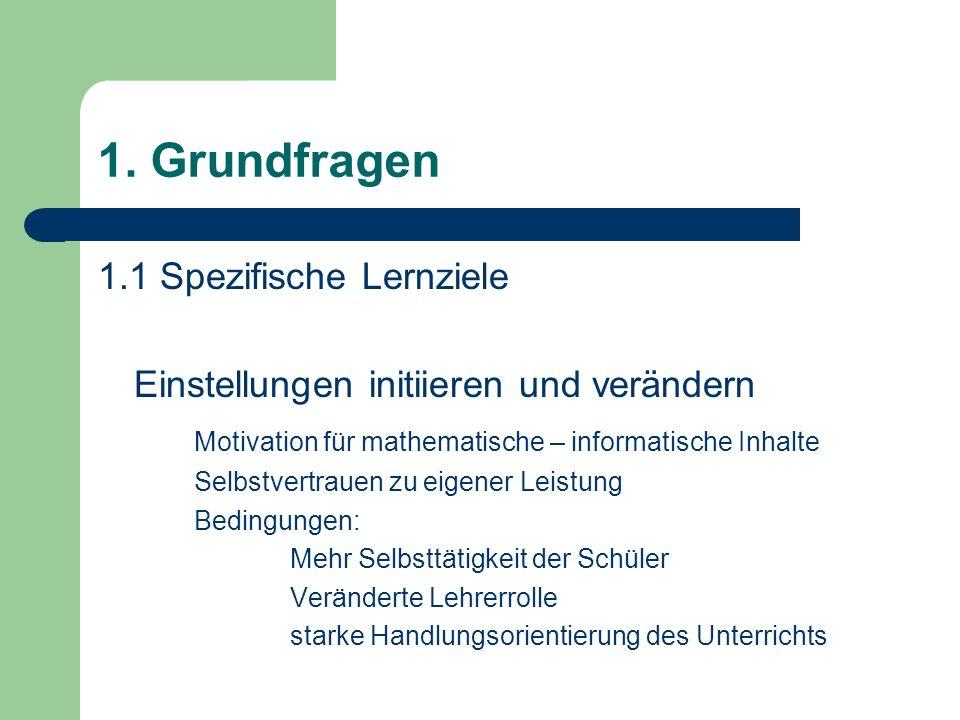 1. Grundfragen 1.1 Spezifische Lernziele Einstellungen initiieren und verändern Motivation für mathematische – informatische Inhalte Selbstvertrauen z
