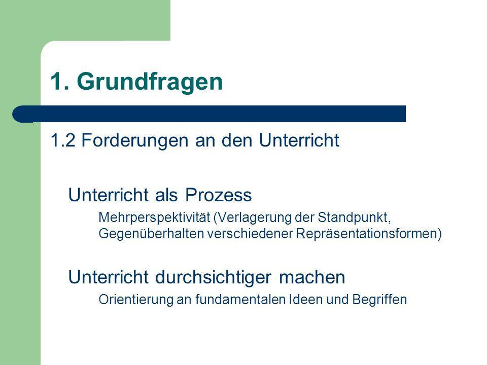 1. Grundfragen 1.2 Forderungen an den Unterricht Unterricht als Prozess Mehrperspektivität (Verlagerung der Standpunkt, Gegenüberhalten verschiedener