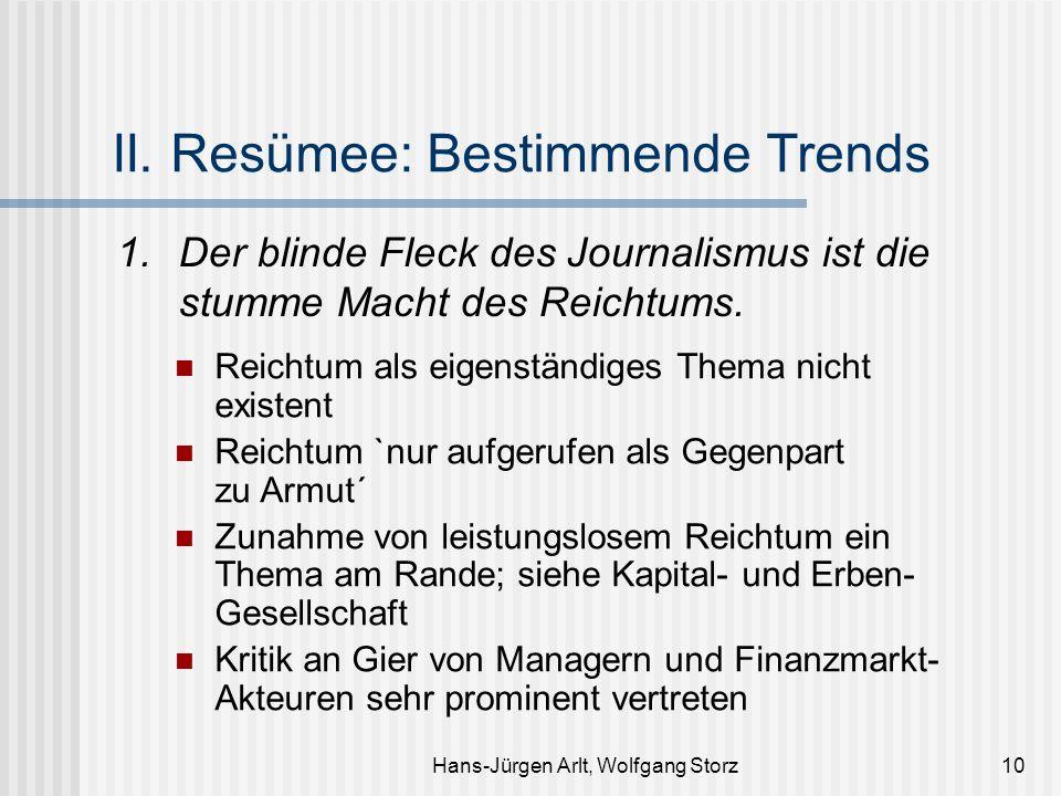 Hans-Jürgen Arlt, Wolfgang Storz10 II. Resümee: Bestimmende Trends 1. Der blinde Fleck des Journalismus ist die stumme Macht des Reichtums. Reichtum a