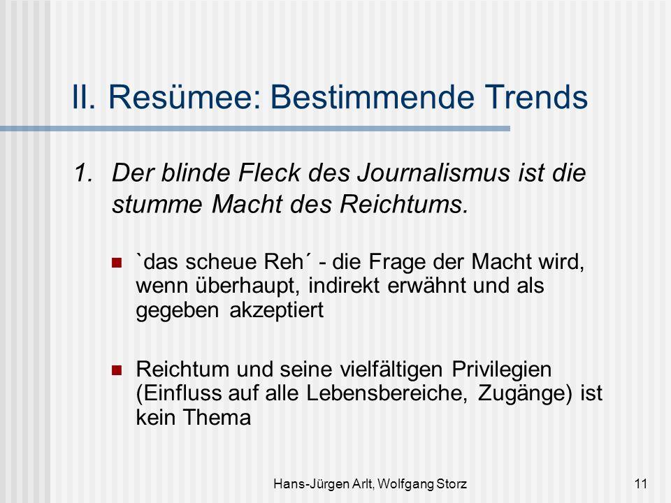 Hans-Jürgen Arlt, Wolfgang Storz11 II. Resümee: Bestimmende Trends 1. Der blinde Fleck des Journalismus ist die stumme Macht des Reichtums. `das scheu