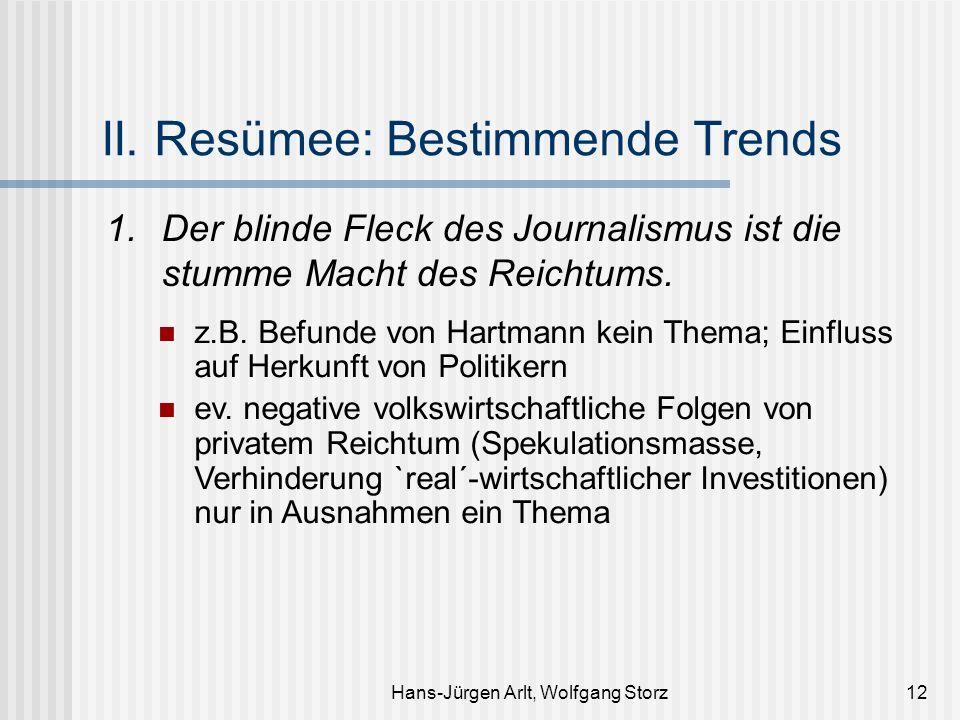 Hans-Jürgen Arlt, Wolfgang Storz12 II. Resümee: Bestimmende Trends 1. Der blinde Fleck des Journalismus ist die stumme Macht des Reichtums. z.B. Befun