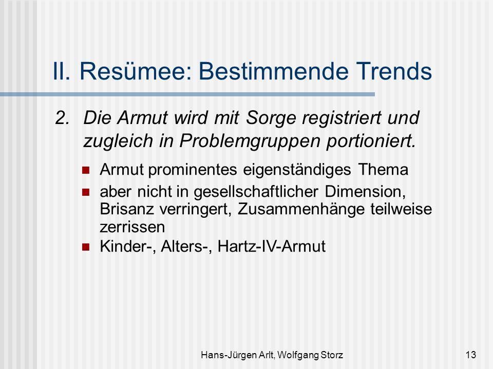 Hans-Jürgen Arlt, Wolfgang Storz13 II. Resümee: Bestimmende Trends 2.Die Armut wird mit Sorge registriert und zugleich in Problemgruppen portioniert.