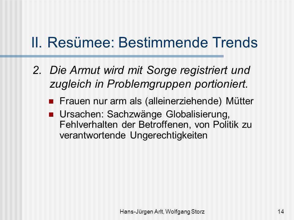 Hans-Jürgen Arlt, Wolfgang Storz14 II. Resümee: Bestimmende Trends 2.Die Armut wird mit Sorge registriert und zugleich in Problemgruppen portioniert.